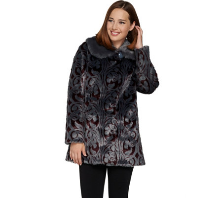 Dennis Basso Platinum Collection Jacquard Faux Fur Coat