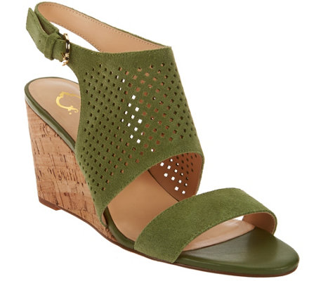 """As Is"" C. Wonder Perforated Suede Cork Wedge Sandals"