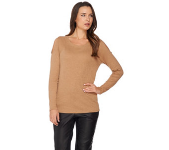 Lisa Rinna Collection Cold Shoulder Long Sleeve Rib Knit Top - A285556