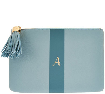 """As Is"" G.I.L.I Pebble Leather Monogram Pouch"