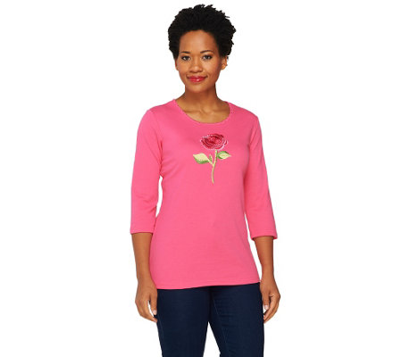"""As Is"" Quacker Factory Think Pink Sparkle Rose 3/4 Sleeve T-Shirt"