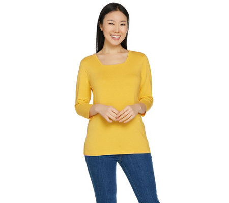 Susan Graver Modern Essentials Cotton Modal Square Neck Top