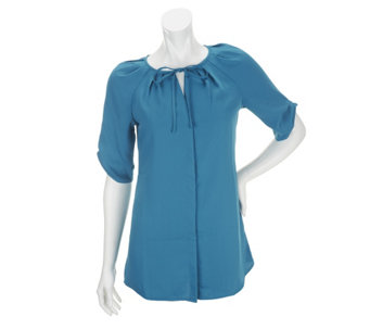 """As Is"" Edge by Jen Rade Short Sleeve Blouse with Pleat Details - A286656"