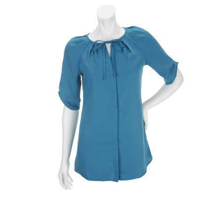 """As Is"" Edge by Jen Rade Short Sleeve Blouse with Pleat Details"