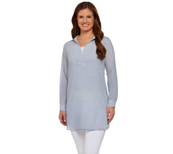 """As Is"" C. Wonder Long Sleeve Split V-neck Sheer Striped Tunic - A286756"