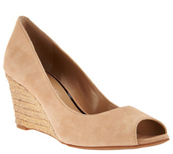 """As Is"" Judith Ripka Nubuck Leather Peep Toe Wedges - Chloe - A287556"