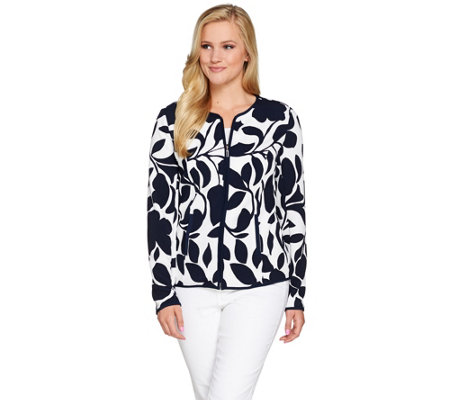 """As Is"" Susan Graver Lightweight Printed Texture Knit Jacket"