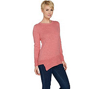 LOGO by Lori Goldstein Cotton Slub Knit Sweater w/ Angled Rib Hem - A288056