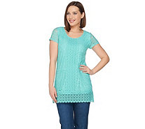 Isaac Mizrahi Live! Mixed Lace Short Sleeve Tunic - A288656