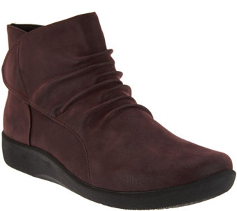 """As Is"" Clarks Cloud Steppers Ruched Ankle Boots - Sillian Sway - A289356"