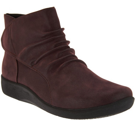 """As Is"" Clarks Cloud Steppers Ruched Ankle Boots - Sillian Sway"