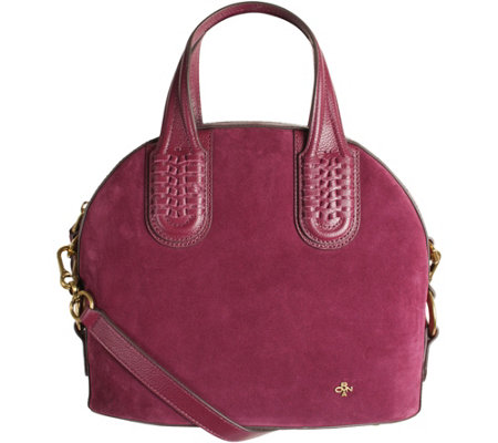 """As Is"" orYANY Italian Suede Domed Satchel - Nadine"
