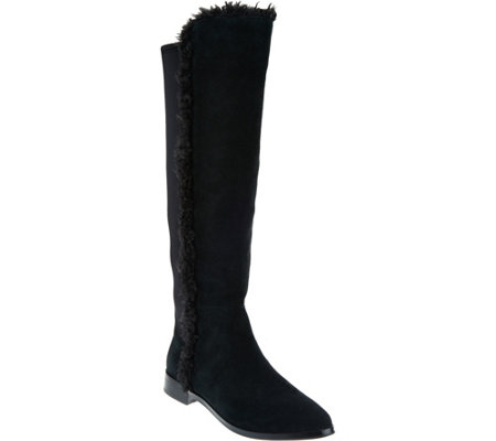 """As Is"" G.I.L.I. Shearling & Suede Tall Shaft Boot"