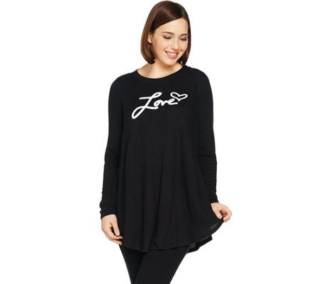 AnyBody Loungewear Brushed Hacci Message Swing Top