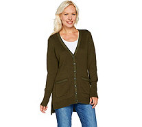 Isaac Mizrahi Live! V-Neck Tunic Cardigan with Grosgrain Detail - A294256