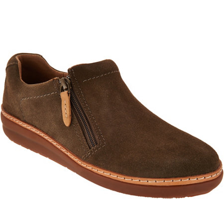 Clarks Artisan Leather Side Zip Slip-on Shoes - Amberlee Vita