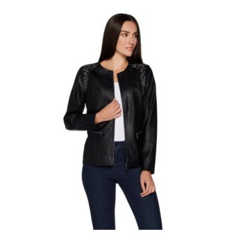 Belle by Kim Gravel Faux Leather Jacket with Embroidery