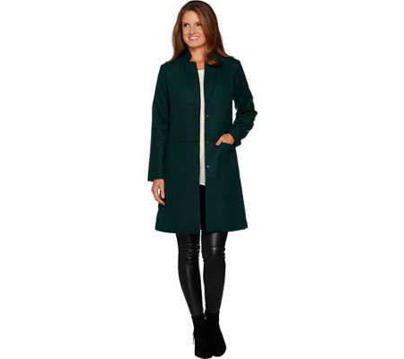 H by Halston Knee Length Snap Front Coat with Notch Collar