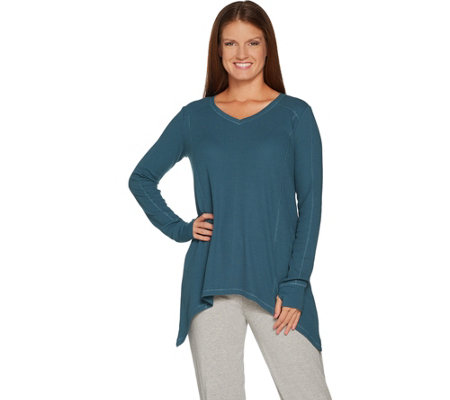 AnyBody Loungewear Cozy Knit Waffle Sharkbite Top
