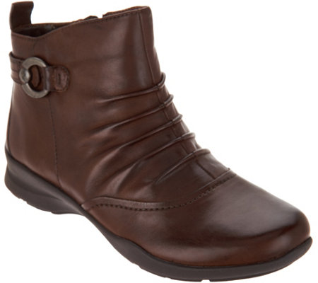 Earth Leather Ruched Ankle Boots - Alta