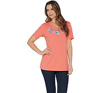 Quacker Factory Scoop Neck Summer Fun Motif Knit Top - A303256