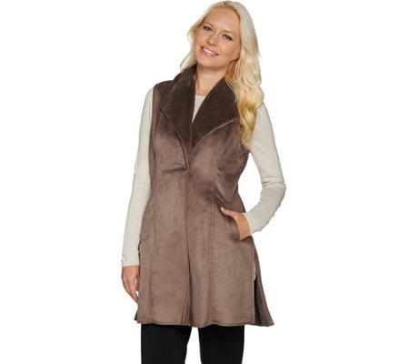 """As Is"" Dennis Basso Faux Shearling Long Vest"