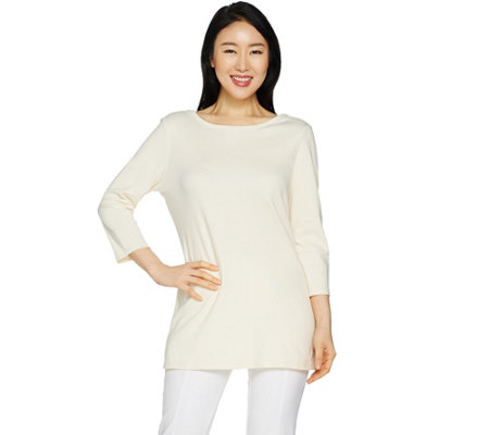 """As Is"" Isaac Mizrahi Live! Essentials Ballet Neck 3/4 Sleeve Tunic"