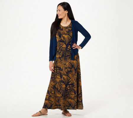 Attitudes by Renee Petite Printed Maxi Dress with Cardigan