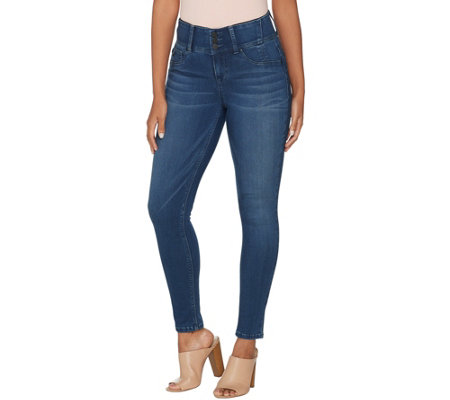 """As Is"" Laurie Felt Silky Denim Curve Skinny Ankle Jeans"