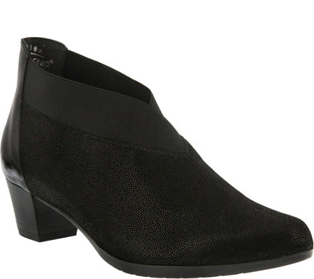 Spring Step Printed Leather Booties - Endear
