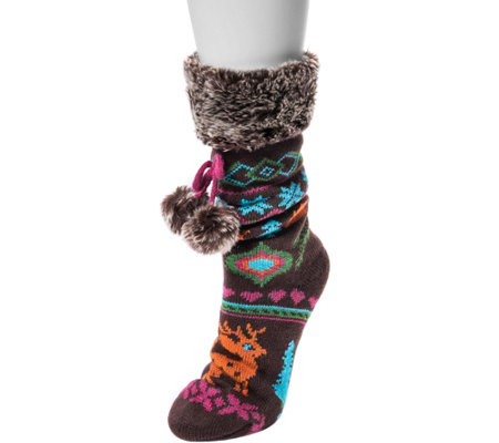 MUK LUKS Women's Pieced Cabin Socks with Tie Detail