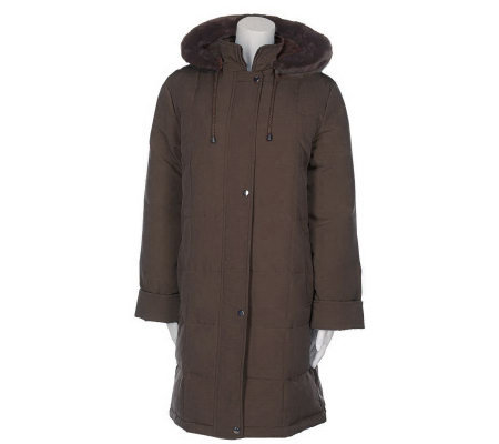 Centigrade Down/Feather Zip Front Coat with Detachable Hood