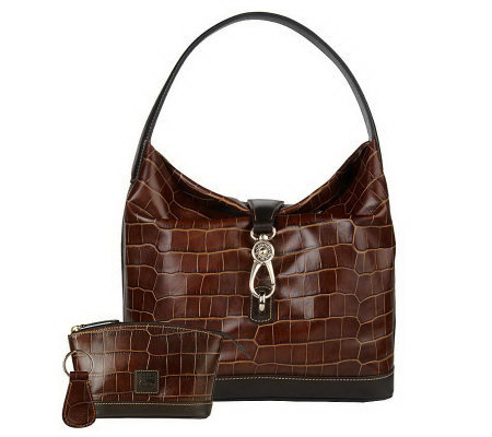Dooney & Bourke Croco Embossed Leather Logo Lock Hobo Bag w ...