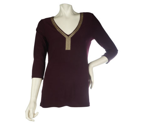 Effortless Style by Citiknits Knit Top with Metallic Trim