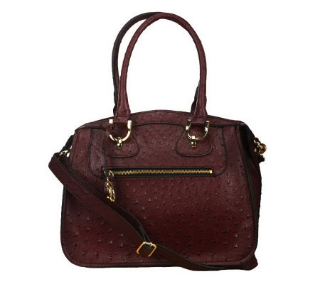 London Fog Hampton Ostrich Embosse Convertible Satchel
