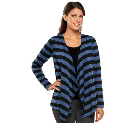 Linea by Louis Dell'Olio Long Sleeve Drape Front Stripe Cardigan