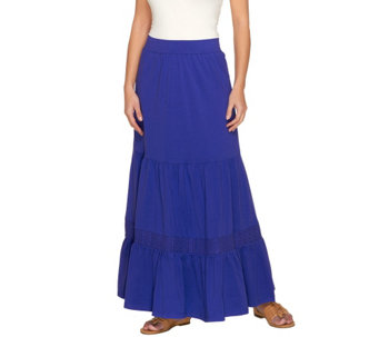 Liz Claiborne New York Petite Knit Maxi Skirt with Crochet Detail - A233057