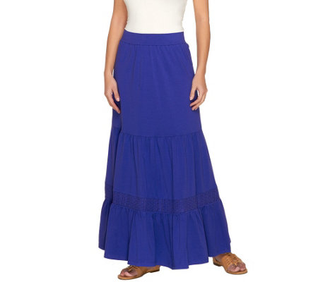 Liz Claiborne New York Petite Knit Maxi Skirt with Crochet Detail