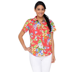 Linea by Louis Dell'Olio Printed Button Front Top - A233857