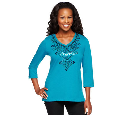 Bob Mackie's V-Neck Sequin Embroidered Top w/ Side Slits