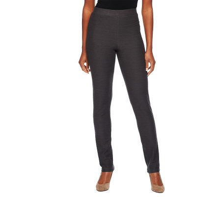 LOGO by Lori Goldstein Regular Slub Twill Knit Pants