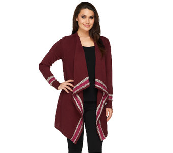 Denim & Co. Drape Front Cardigan with Fair Isle Border - A238357