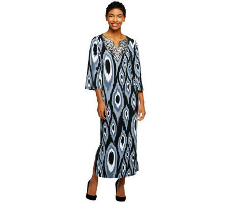 Bob Mackie's Jeweled Collar Ikat Print Split Neck Caftan