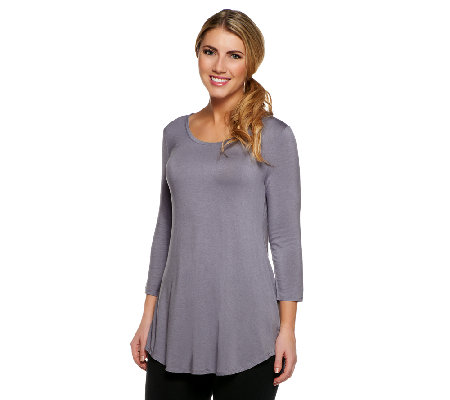 LOGO Layers by Lori Goldstein Scoop Neck 3/4 Sleeve Knit Top