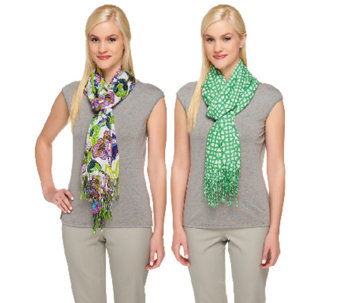 "Isaac Mizrahi Live! 28""x72"" Set of Two Printed Scarves - A253157"