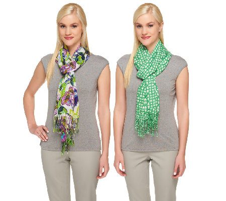 "Isaac Mizrahi Live! 28""x72"" Set of Two Printed Scarves"