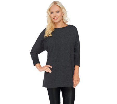 H by Halston Oversized French Terry Sweatshirt with Dolman Sleeve
