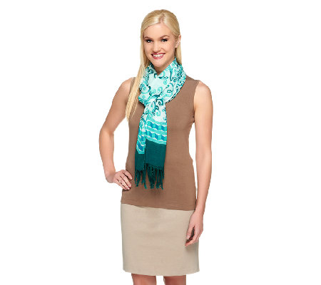 Isaac Mizrahi Live! Porcelain Print Scarf with Fringe Detail