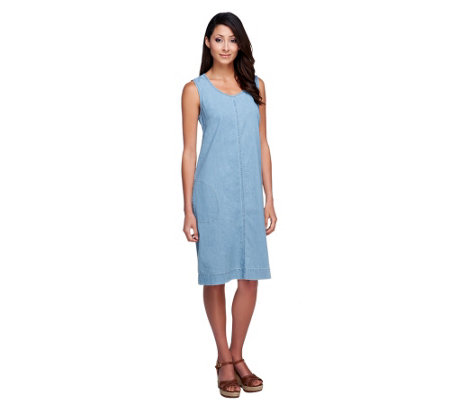 Denim & Co. Stretch Denim Sleeveless A-line Dress