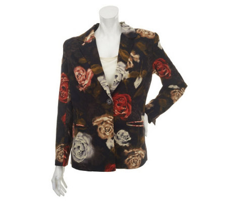 """As Is"" Susan Graver Printed Peachskin Single Breasted Blazer"